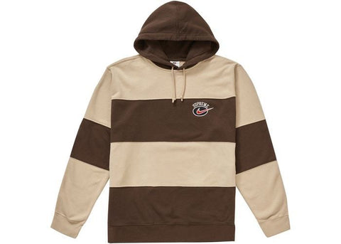 Supreme Nike Stripe Hooded Sweatshirt Tan