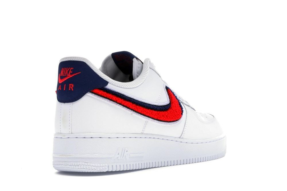Nike Air Force 1 Low 3D Chenille Swoosh White Red Blue