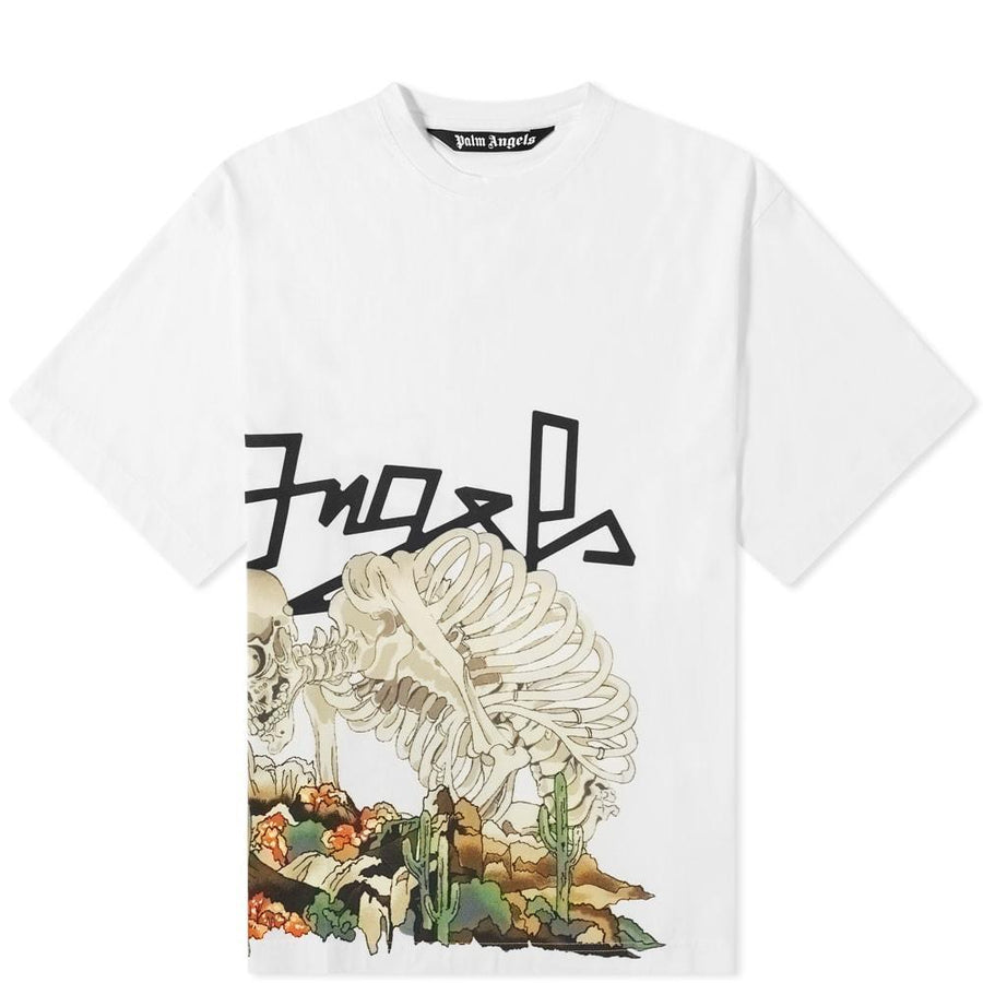 Palm Angels White Oversized Desert Skull T-Shirt