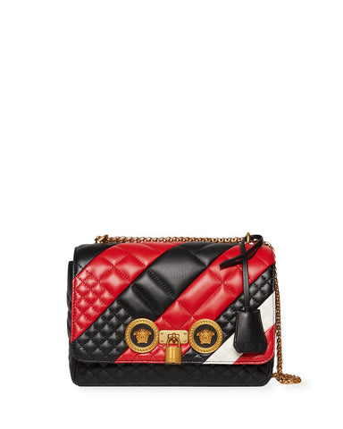 Versace Women's Red Icon Medium Quilted Patchwork Shoulder Bag