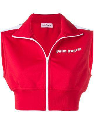 Palm Angels Red Cropped Gilet