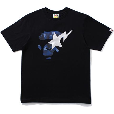 Bape Color Camo Ape Face On Bapesta Tee Navy