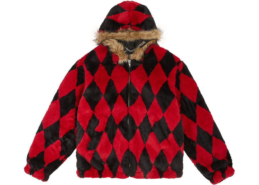 Supreme Diamond Faux Fur Jacket Red