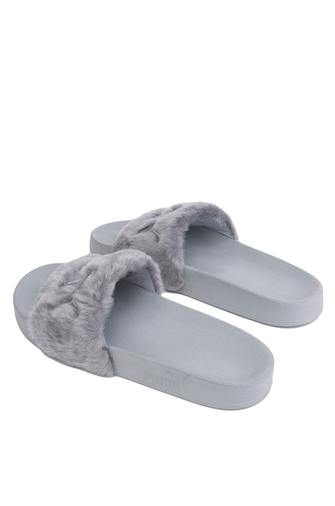 timeless design b77fc 46cb5 Puma Rihanna Leadcat Fenty Fur Slide Grey Sandal