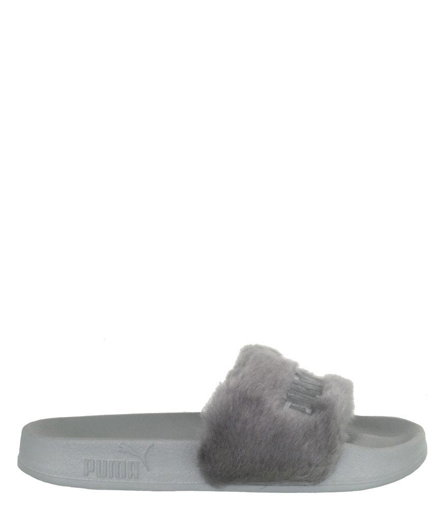 puma rihanna leadcat fenty fur slide grey sandal kickzr4us. Black Bedroom Furniture Sets. Home Design Ideas
