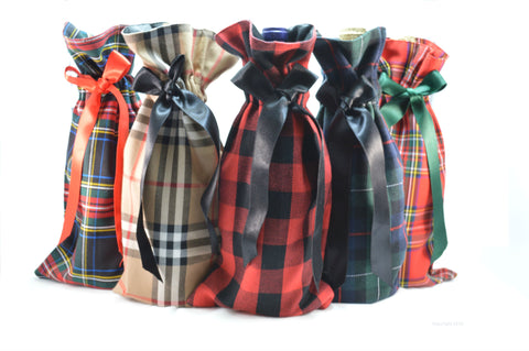 Plaid Wine Bags