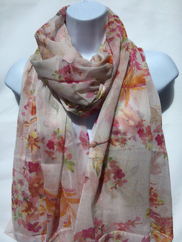 Shiny Floral Scarf
