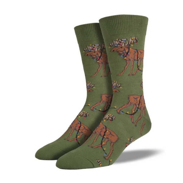 "SockSmith MEN'S ""XMAS LIGHTS MOOSE"" SOCKS"