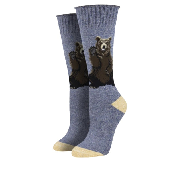 "Outlands USA Recycled Cotton -UNISEX SIZING ""Friendly Bear"" Socks"