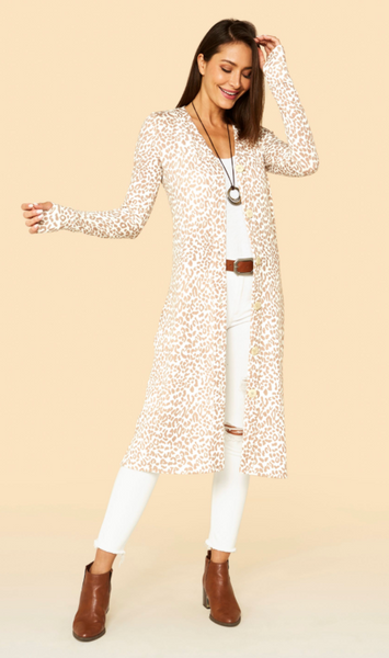 Jupee Cheetah Thumb Hole Cardigan