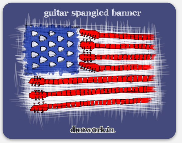 "Sticker Guitar Spangled Banner 4"" Rectangular"