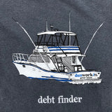 Debt Finder Mens Sport Fishing Boat, Front & Back Print - dunworkin
