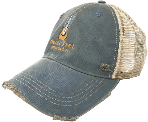 Hat Guitar Spangled Banner Distressed Trucker