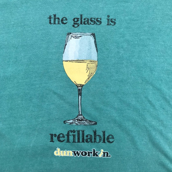 "The Glass Is Refillable ""White Wine"" Women's SS V Neck - dunworkin"