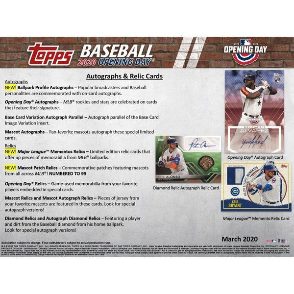 2020 Topps MLB Opening Day Baseball Hobby Box