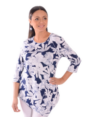 T347- 3/4 Sleeve Asymmetrical Tunic Loose Long Blouse Top