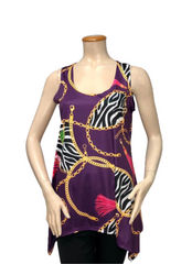 T1008 - DIGITAL PRINT SCOOP NECK SLEEVELESS SHARKBITE TUNIC