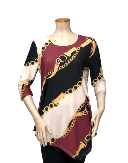 T1005 - DIGITAL PRINT ASYMMETRICAL TUNIC - Fashque