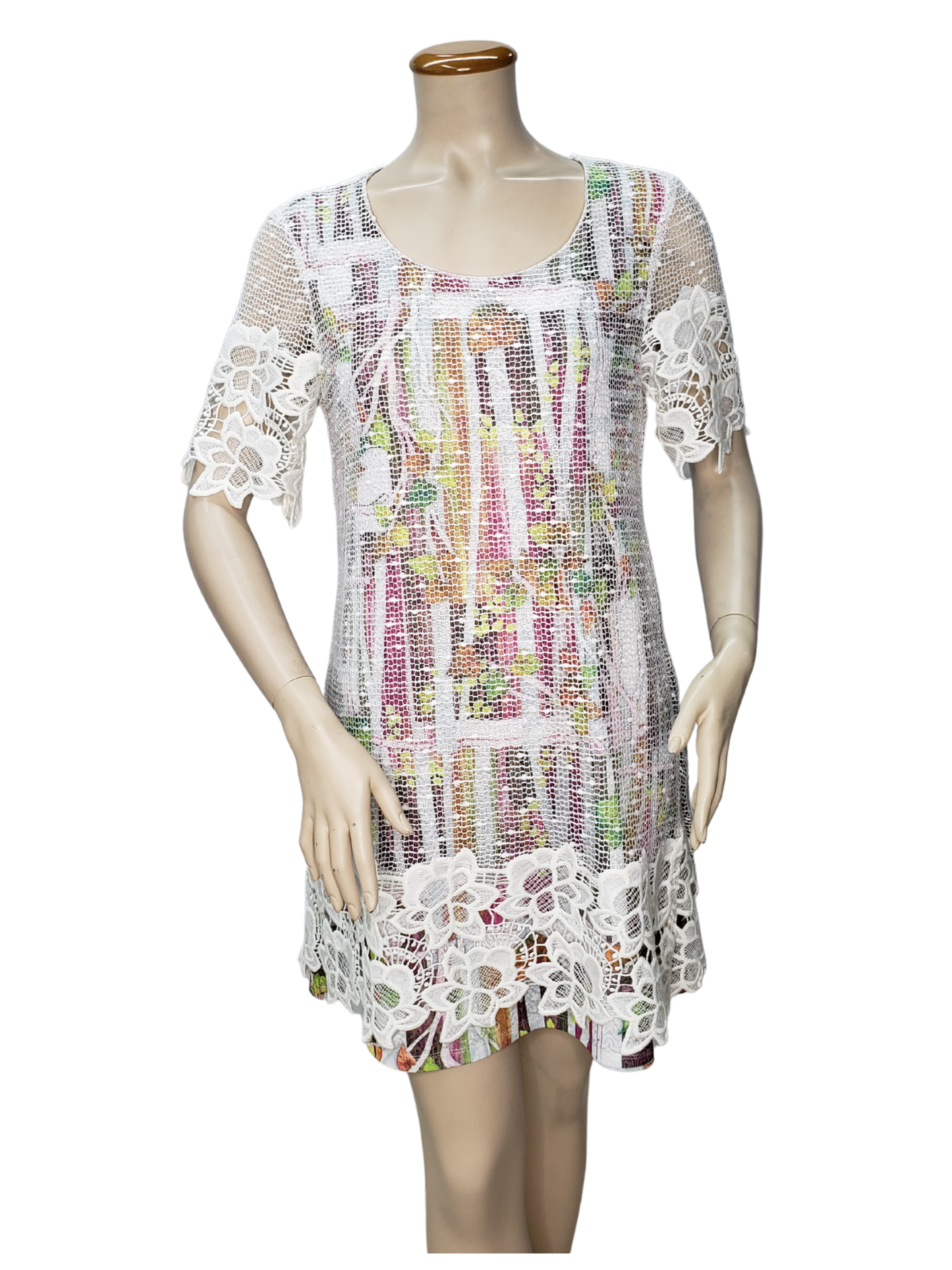 D065- Lace Layered Printed Dress with Lace Sleeves - Fashque