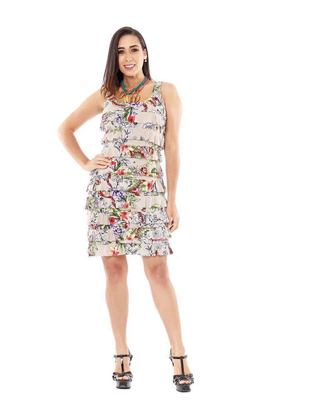 D760 - Sleeveless Knee length Ruffle Dress Various Prints and Solids