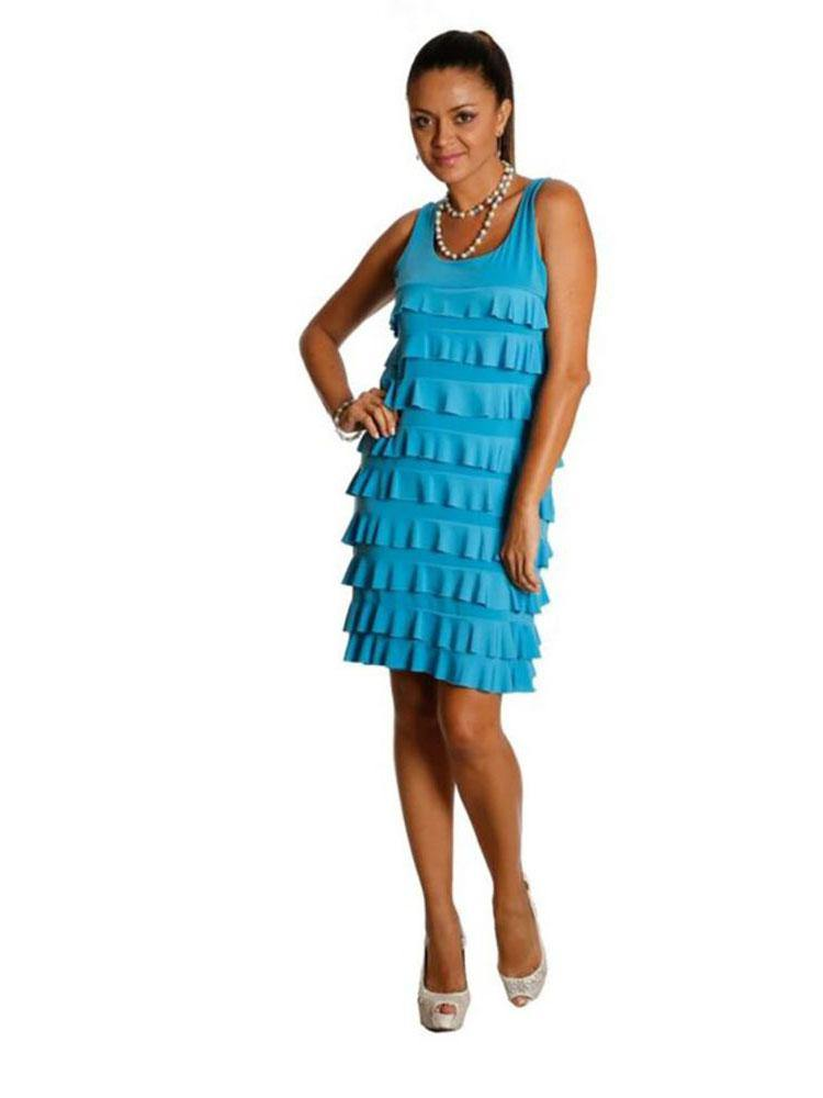 D760 - Sleeveless Knee length Ruffle Dress - Solid Colors and Prints - Fashque