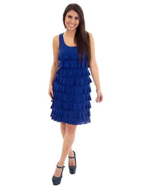 D760 - Sleeveless Knee length Ruffle Dress - Solid Colors and Prints