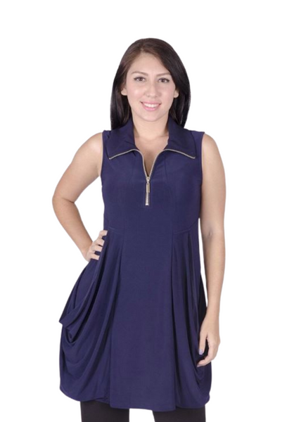 1034502 - KANGAROO POCKET DRESS/TUNIC WITH COLLAR AND ZIP FRONT