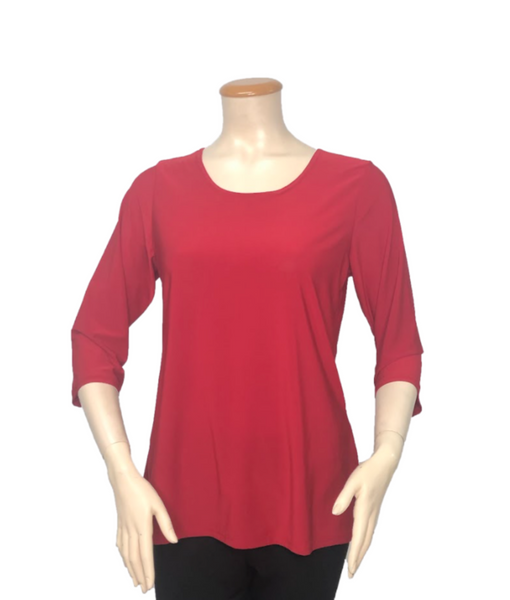 T311 - Elegant 3/4-Sleeve Solid Color Shirt
