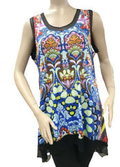 T2620 - Digital Print Sleeveless  Tunic with Georgette Trim
