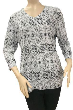 T2623 - V Neck Digital Print 3/4 Sleeve Tunic