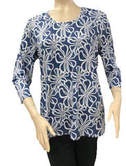 T2628 - Scoop Neck Digital Print 3/4 Sleeve Tunic