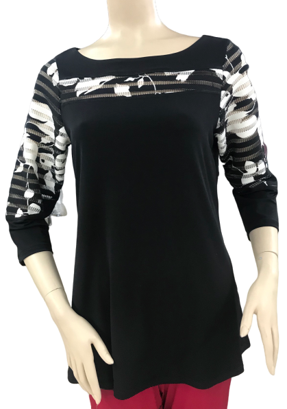 T561 - Scoop Neck Color Block Combo 3/4 Sleeve Tunic