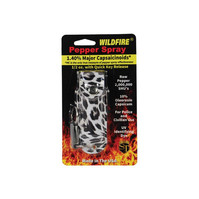 1.4% Wildfire MC 1/2 oz pepper spray fashion leatherette holster and quick release keychain