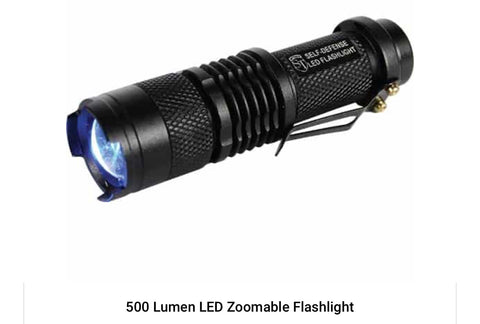 500 LUMEN LED self-defense zoomable flashlight