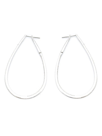 White Gold + Diamond Hoops | SRH11WG 18K WG DIA OVAL HOOP