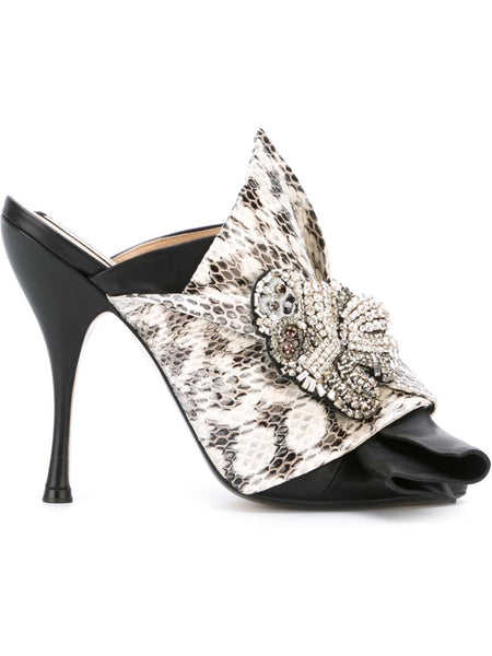 Jeweled Python-Embossed Mule | 8812