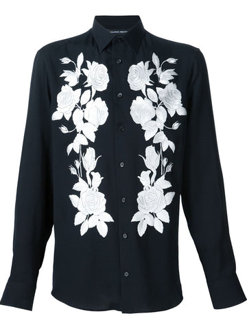 Rose Embroidered Silk Shirt | 427692QHZ73