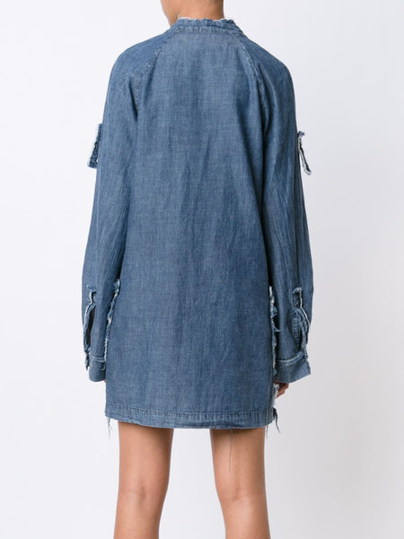 Frayed Edge Denim Dress | Y63-6338