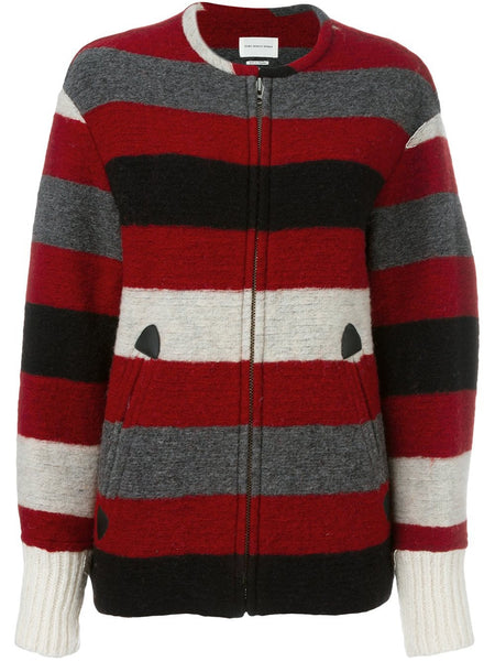 Zipped Striped Coat | FIMO MA0212-16A006E