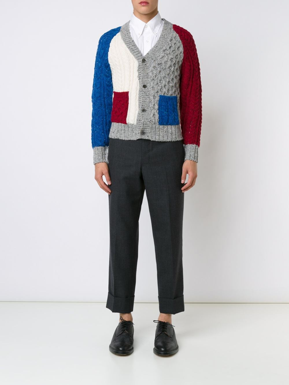 Color Blocked Cable Knit Cardigan | MKC040A-00218