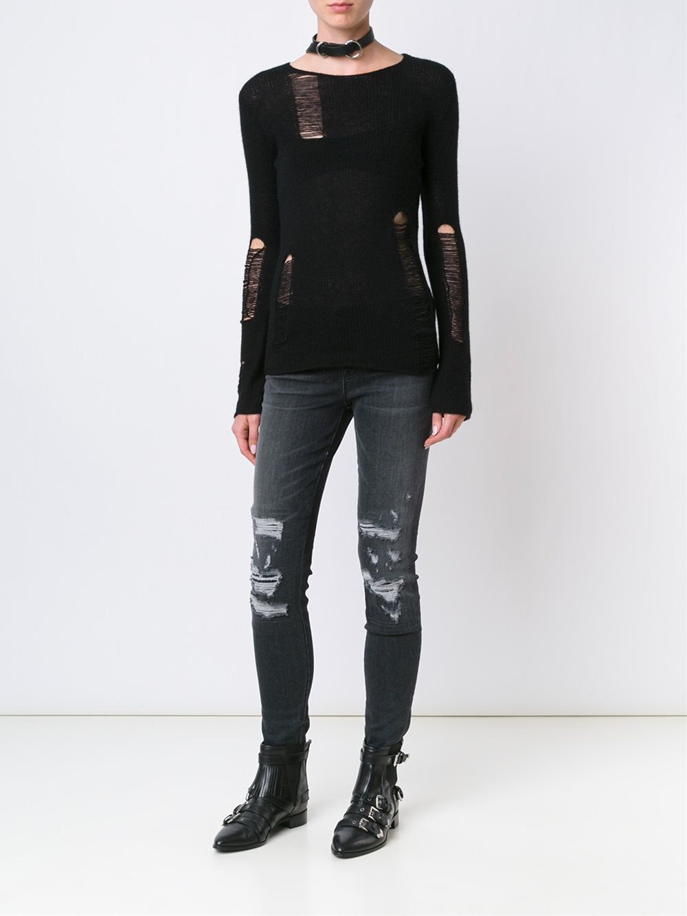 Distressed Cashmere Sweater | R13W3039-01