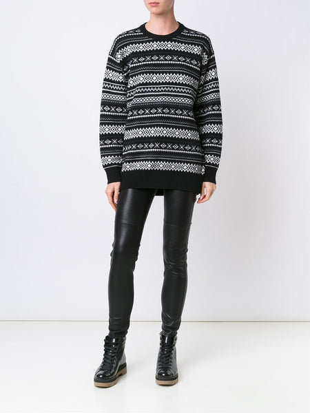 Distressed Intarsia Sweater | 119052P16 YN1641