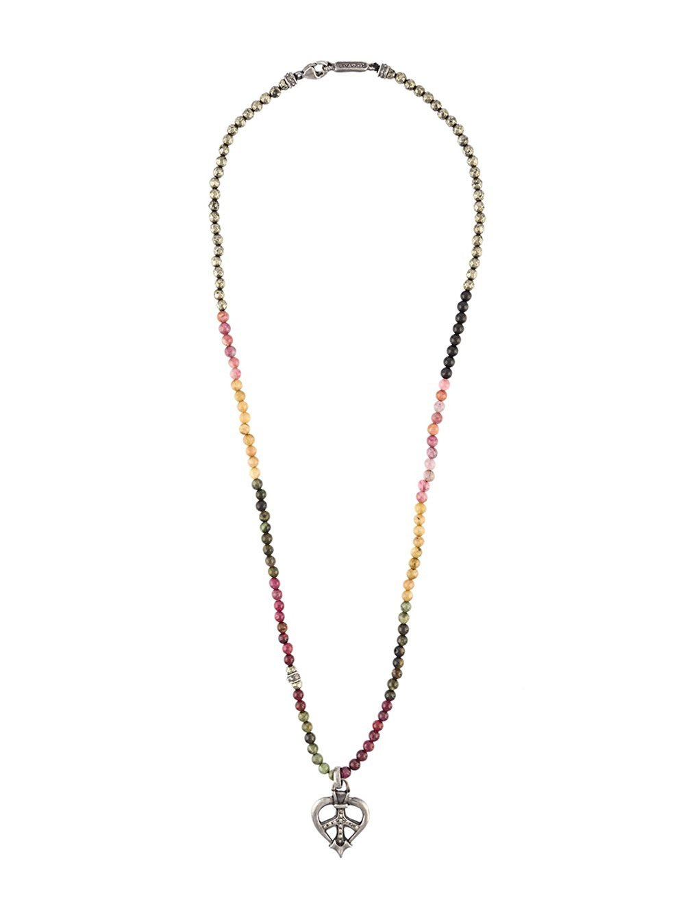 Turmaline Diamond Peace Sign Necklace | 9- 1101-479-SS/DIA-TURMALINE
