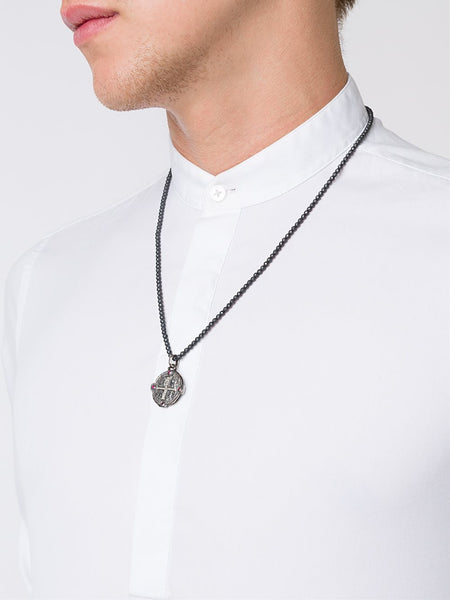 Silver & Ruby Cross Necklace | 10- N-1249-SS/DIA/RUBY/HEM