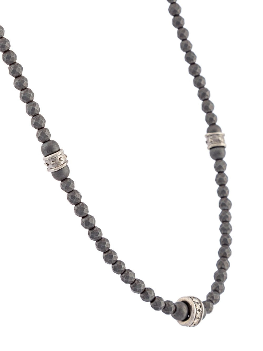 Hematite-Diamond-Silver Beaded Necklace | 12- N-479-7-SS/DIA/HEM 7