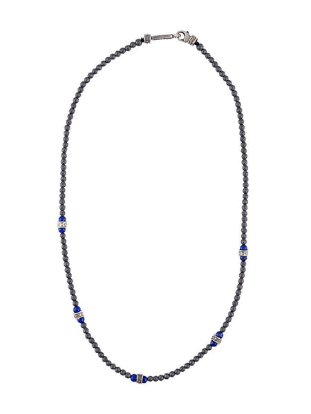 Hematite & Lapis Beaded Necklace | 14- N-479-5-HEM/LAPIS