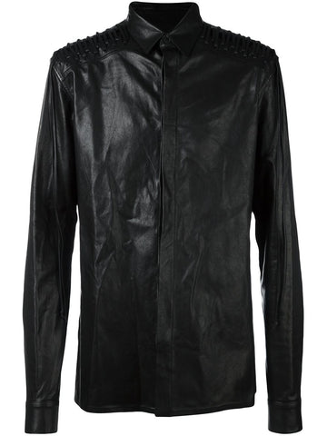 Laced Leather Shirt-Jacket | 164-3603-578