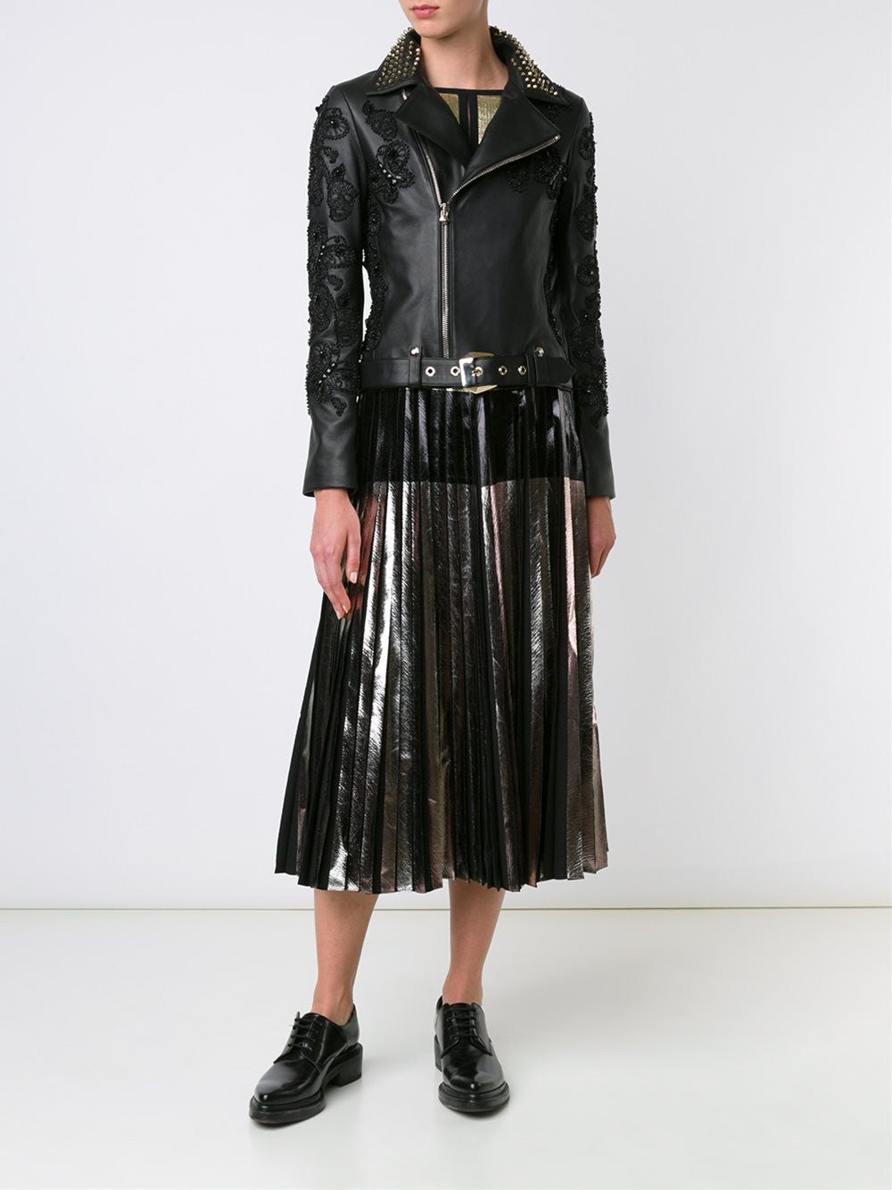Beaded Lambskin Moto Jacket | CW220389