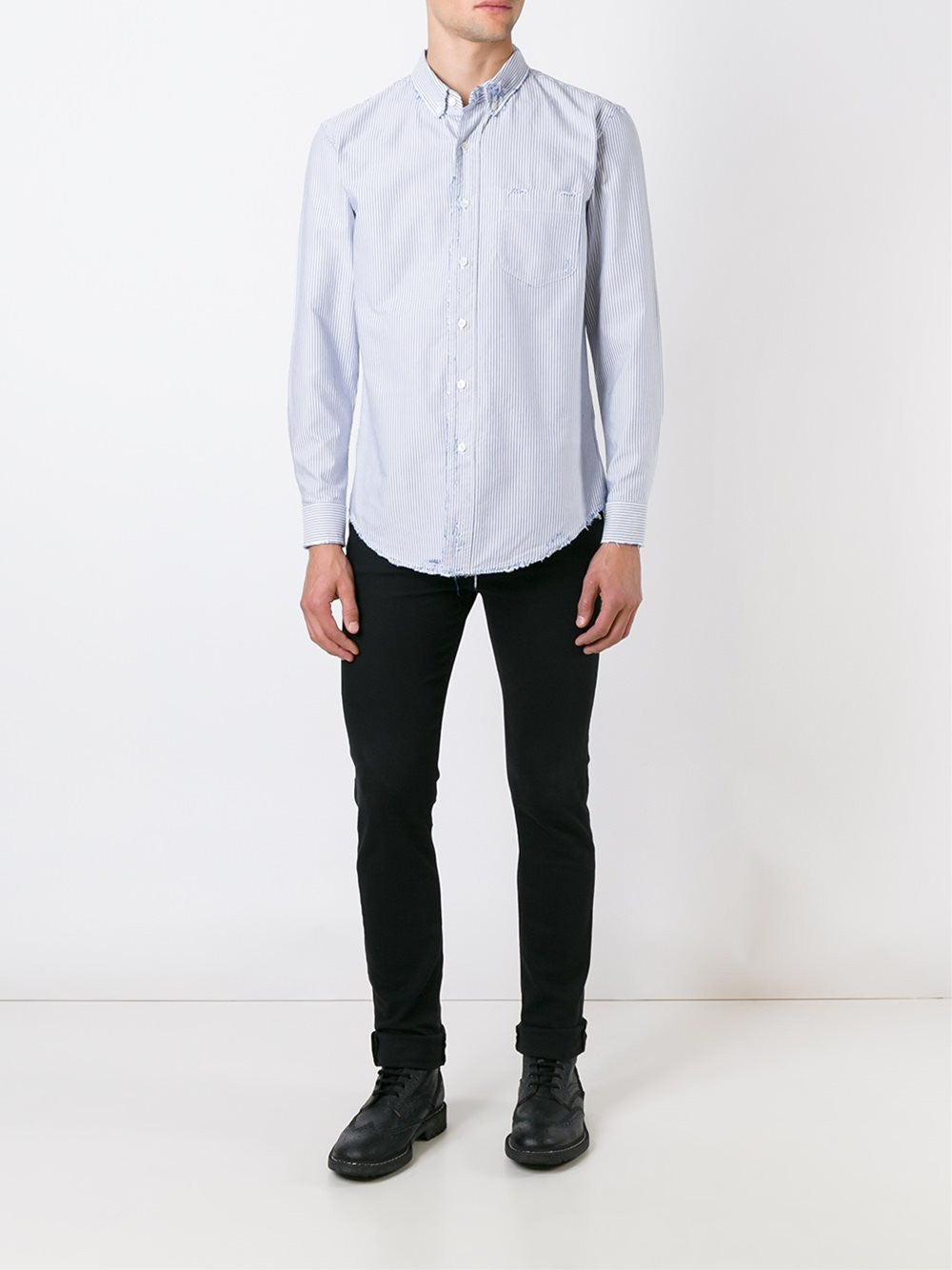 Distressed Striped Cotton Shirt | PMGA001-F1609-0055