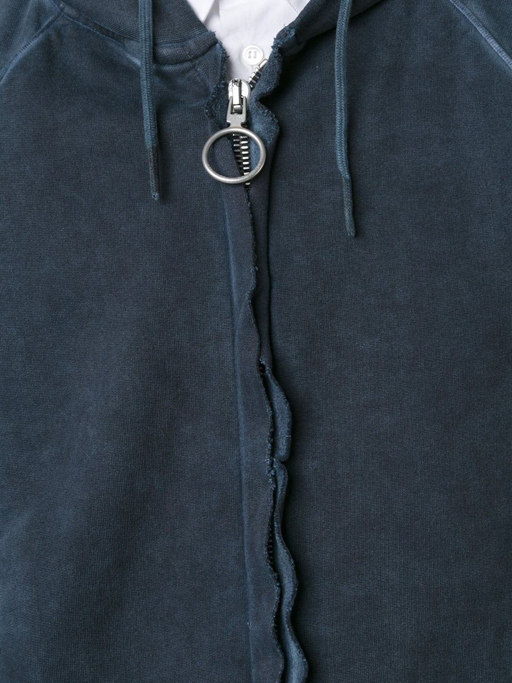 Zip-Up Cold Dyed Hoodie | OMBB-011F16-192023 RAW FLEECE